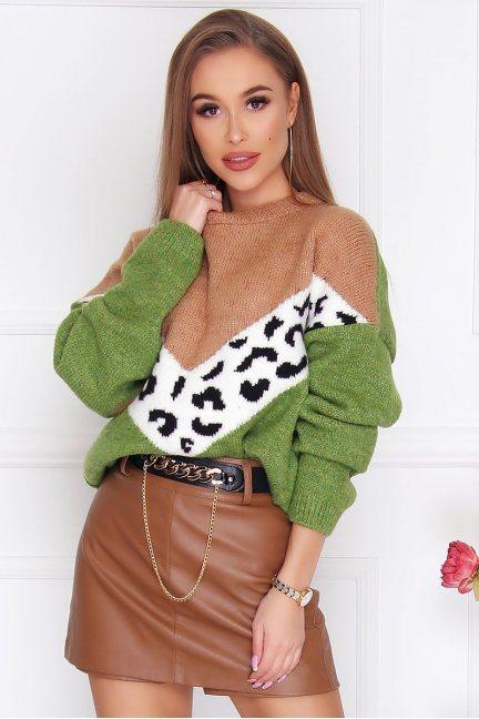 Sweter damski ciepły panterka zielony