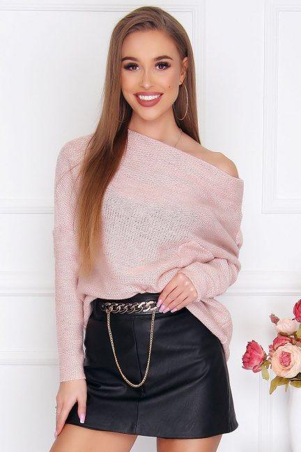 Sweter modny oversize kieszeń różowy