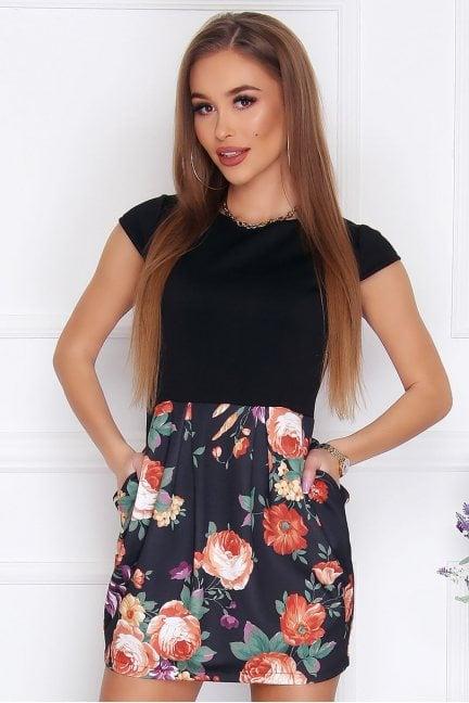 Sukienka bombka mini kwiaty czarna