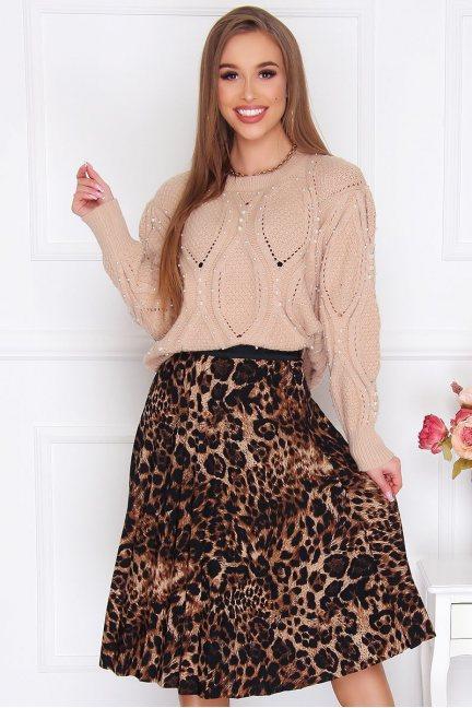Spódnica plisowana midi panterka brązowa