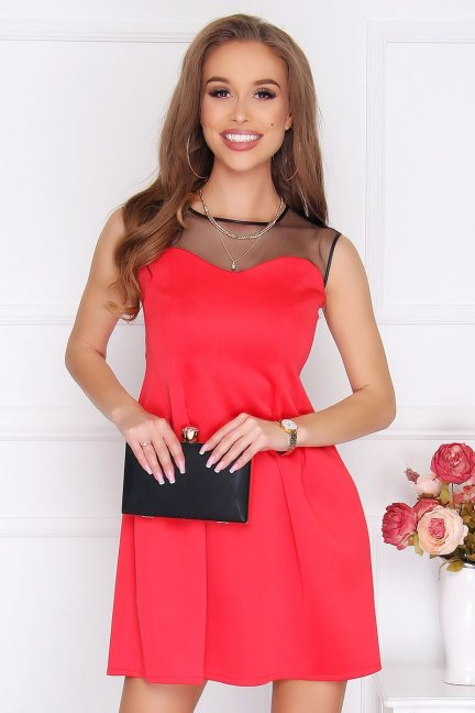 Sukienka rozkloszowana sexy czerwona