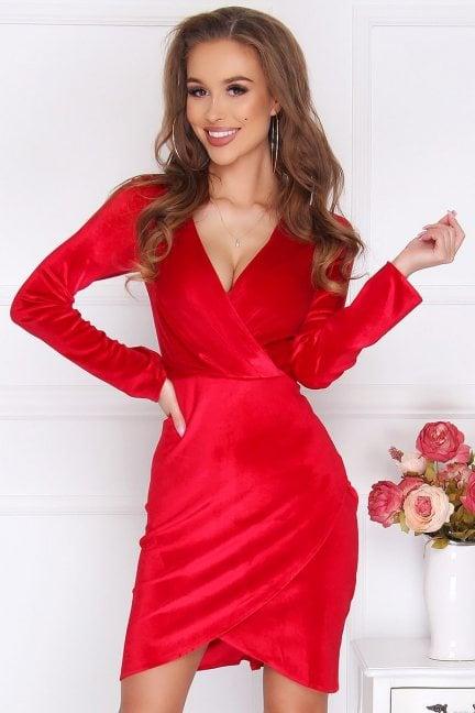 Sukienka welurowa mini dekolt czerwona
