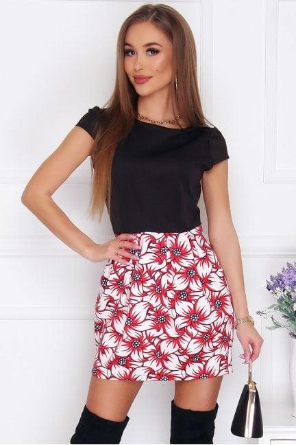 Sukienka bombka mini w kwiatki czarna
