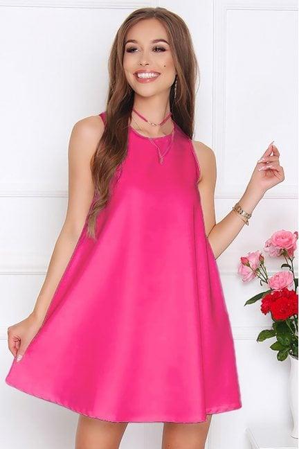 Sukienka rozkloszowana CM492 fuksja