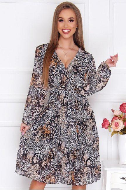 Sukienka damska midi w panterkę szara
