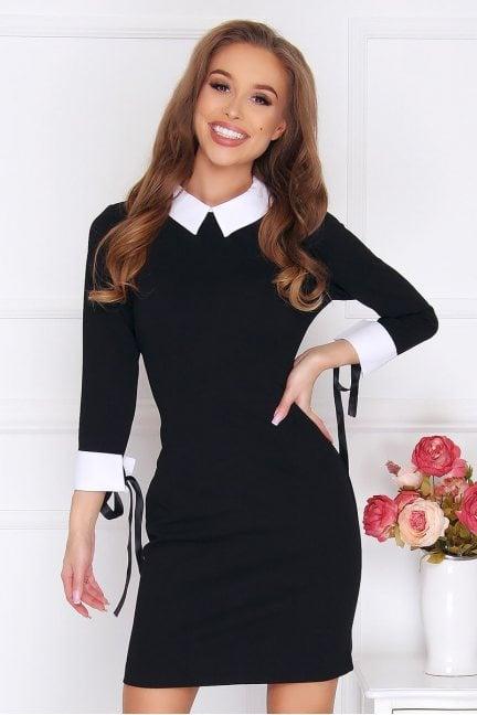 Sukienka pensjonarka z kokardkami czarna