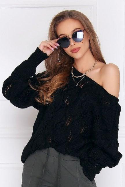 Sweter damski ciepły oversize czarny