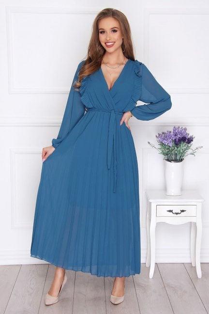Sukienka damska maxi plisowana turkusowa