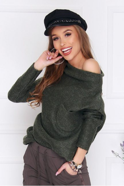 Sweter modny oversize kieszeń khaki