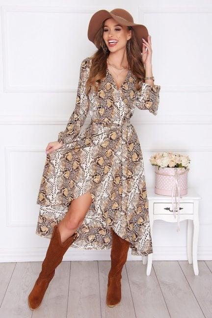 Sukienka elegancka długa panterka beżowa
