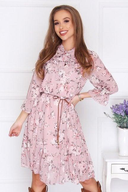 Sukienka damska midi w kwiatki różowa