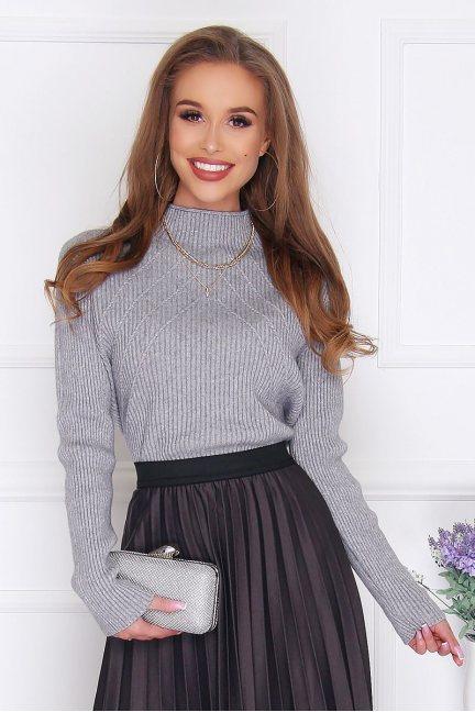Sweter modny z półgolfem damski szary