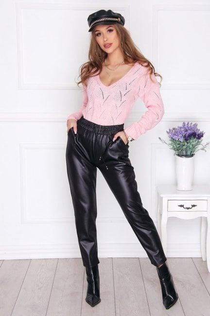 Spodnie skórzane modne kieszenie czarne