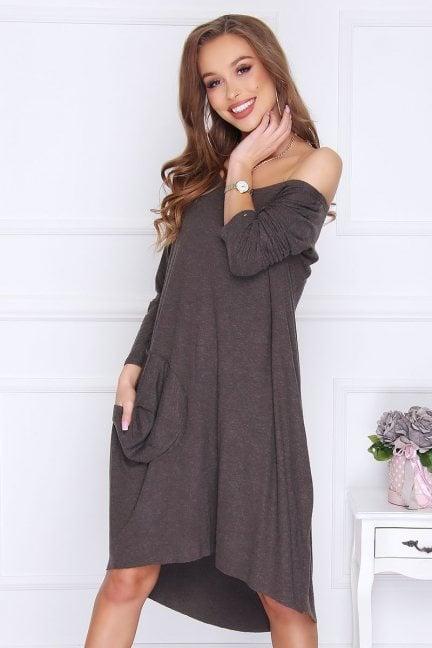 Sukienka kieszeń z angory khaki