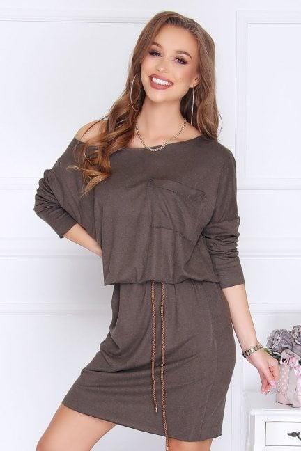 Sukienka ołówkowa z angory khaki