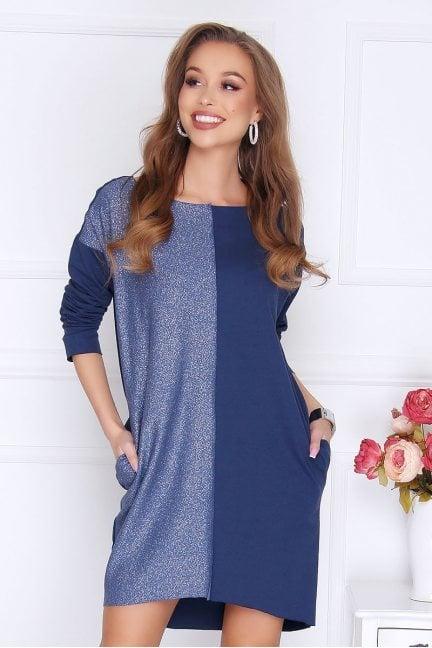 Sukienka tuba z brokatem niebieska