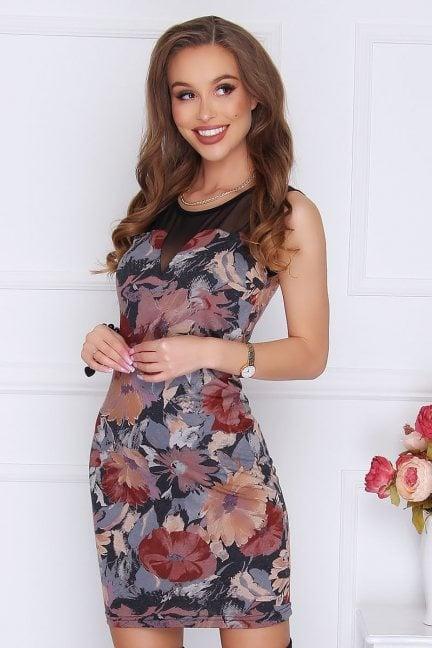 Sukienka z siateczką kwiaty czarna