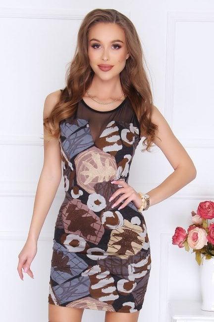 Sukienka mini z siateczką wzór czarna
