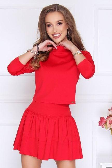 Komplet damski elegancki mini czerwony