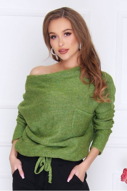 Sweter modny oversize kieszeń zielony