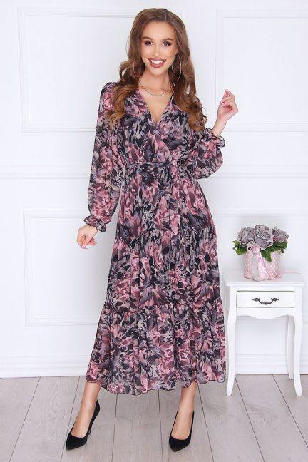 Sukienka wizytowa modna falbanka czarna