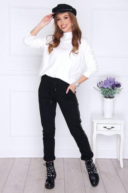 Sweter damski zapinane rękawy biały
