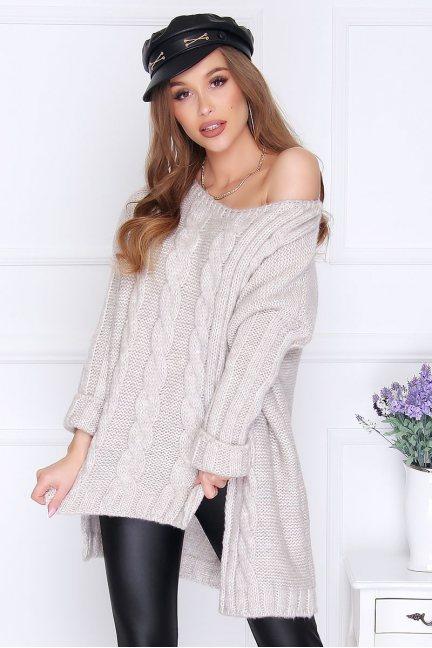 Sweter damski dłuższy tył warkocz beżowy