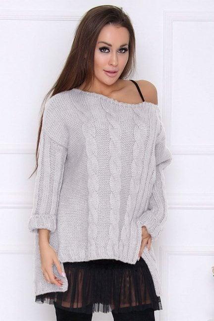 Sweter damski dłuższy tył warkocz szary