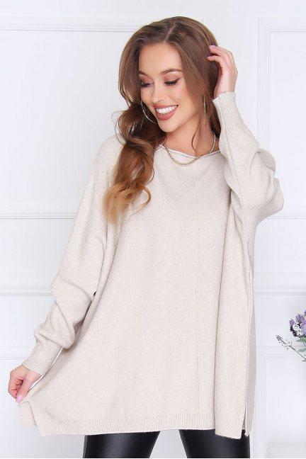 Sweter damski modny oversize beżowy