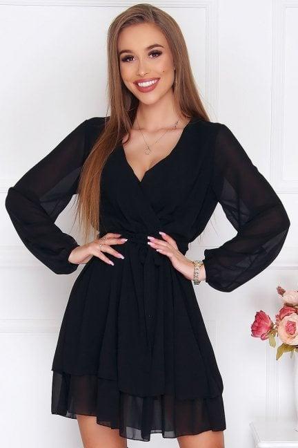 Sukienka wizytowa mini szyfon czarna