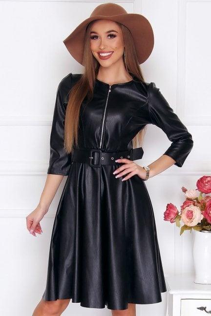 Sukienka rozkloszowana skórzana midi czarna