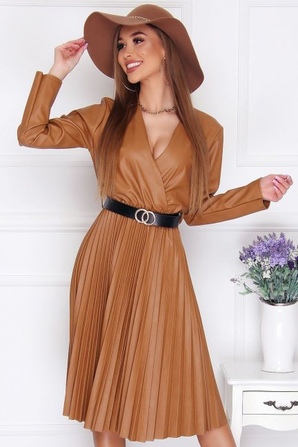 Sukienka wizytowa plisowany dół camel