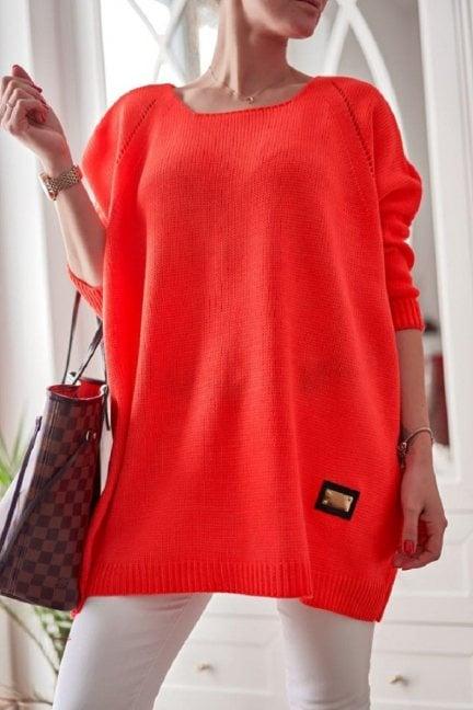 Sweter oversize ażurowy neon pomarańcz