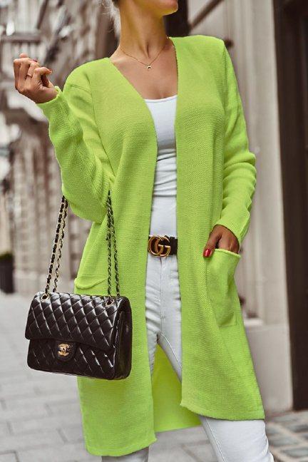 Sweter kardigan kieszenie jasno zielony