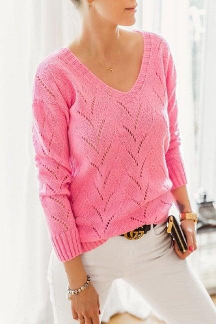 Sweter damski ażurowy malinowy