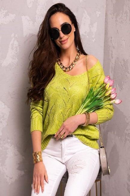 Sweter damski ażurowy zielony