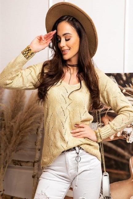 Sweter damski ażurowy beżowy