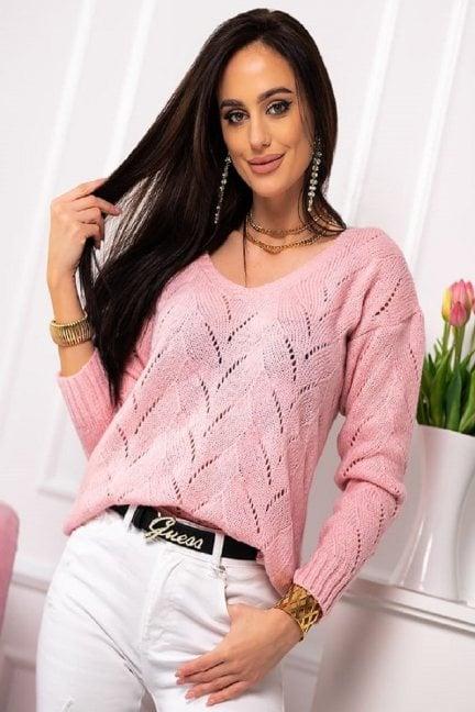 Sweter damski ażurowy różowy