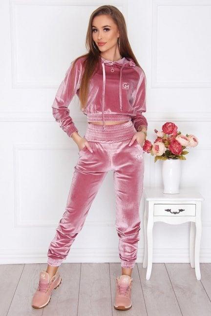 Dresy sportowe damskie welur różowe