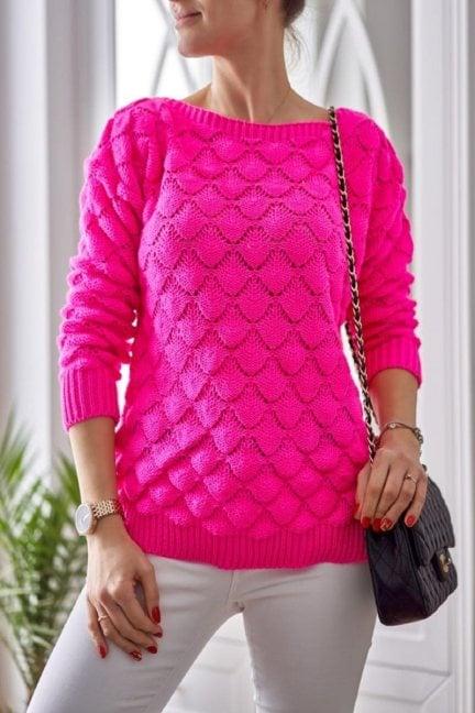 Sweter damski oversize modny fuksja