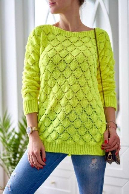 Sweter damski oversize modny limonka