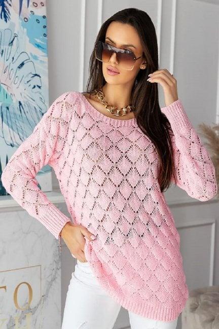 Sweter damski oversize modny różowy