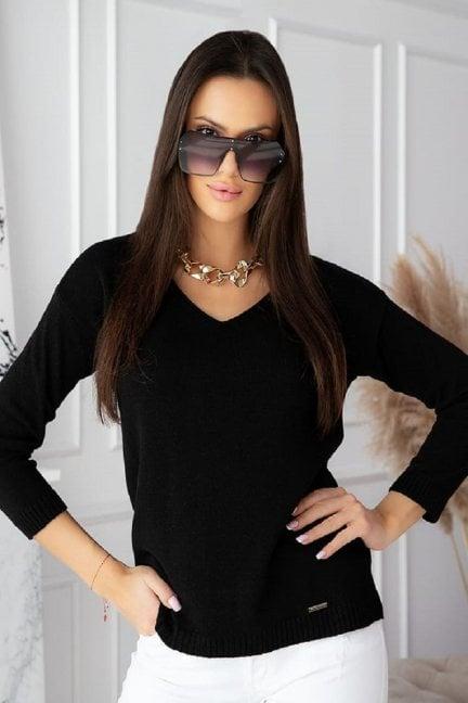 Sweter modny damski z dekoltem czarny