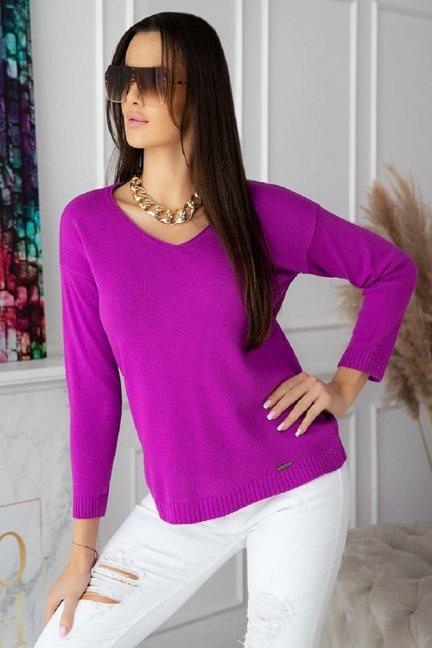 Sweter modny damski z dekoltem fioletowy