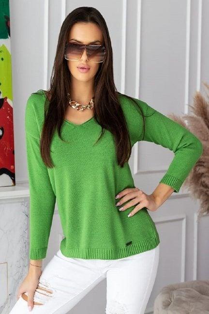 Sweter modny damski z dekoltem zielony