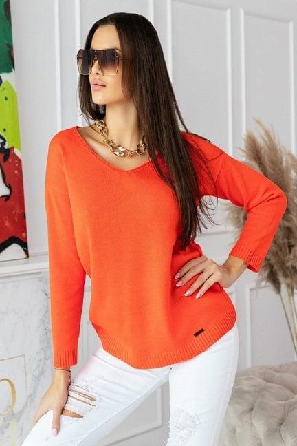 Sweter modny damski z dekoltem pomarańcz