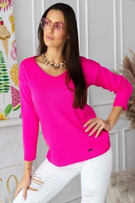 Sweter modny damski z dekoltem fuksja
