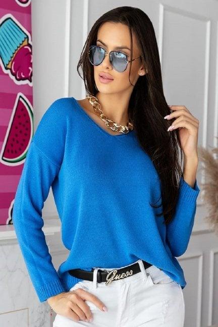 Sweter modny damski z dekoltem niebieski