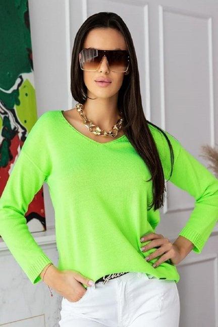 Sweter modny damski z dekoltem neon zielony