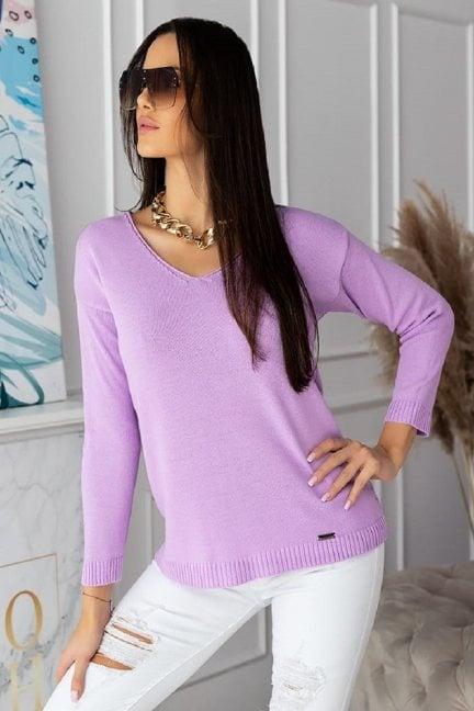 Sweter modny damski z dekoltem liliowy